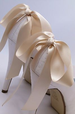 Cream Shoe Clips Bridal Wedding Accessory Bows for Shoes Formal Party Prom Races