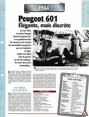 Voiture Peugeot 601  Fiche Technique Automobile 1934 Collection Car