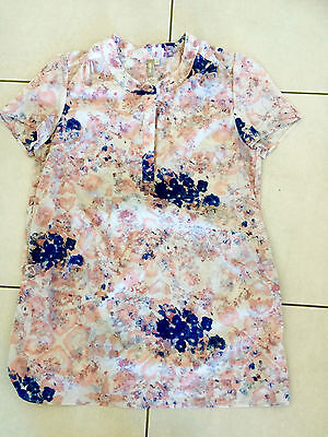 NINEANDMINE Maternity Tunic Top Short Sleeves Size 12 Cream Navy Pink Floral
