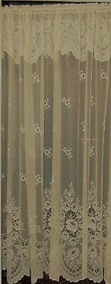 "Bruge Cream Straight Floral Net Curtain With Attached Frill 72"" 180Cm  By Metre"