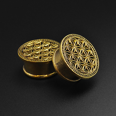 Brass Flesh Tunnels Gauges | Flower Of Life | 6mm-16mm | Lead & Nickel Free Plug