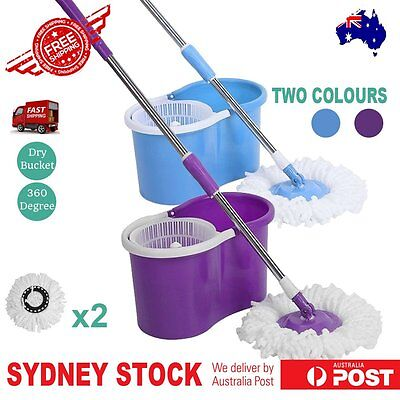 NEW Magic Mop 360 Degree Rotating Spin Mop with 2 Microfibre Mop Heads AU Stock