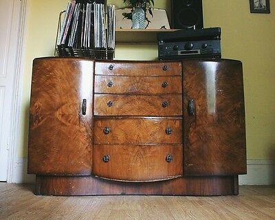 Gorgeous Vintage Art Deco 1940's Beautility Walnut Veneer Solid Wood Sideboard
