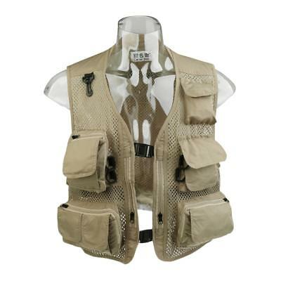 Mens Casual Utility Hunting Fishing Travels Sports Mesh Vest with Pockets