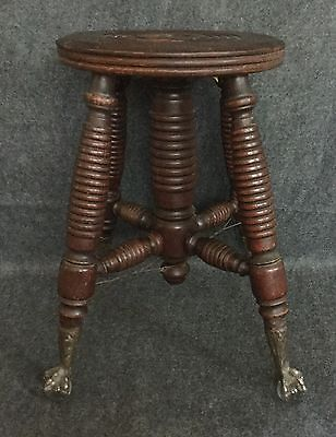 Antique Piano Stool Eagle Talon Claw with Glass Ball Base Legs Missing Top