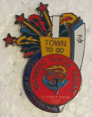 Sydney 2000 Olympic Torch Relay Pins - 1 Town To Go Pin
