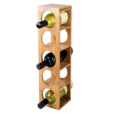 New Wooden 5 Bottle Wine Rack Storage Stackable Bamboo * Free P&p Uk  * Drinks
