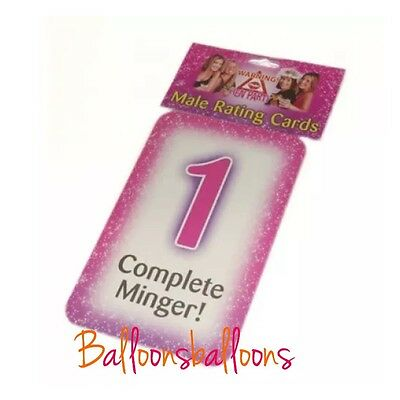 10 MALE RATING CARDS  Hen Do Party Girls Pink Accessories Hens Night Out Novelty