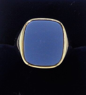 Gents Stoneset Signet Ring in 18ct Yellow Gold - Large Size T 1/2 - 12.5grams