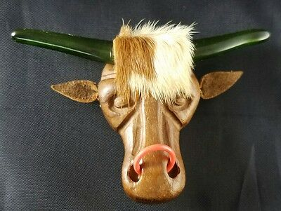 Vintage Carved Wood Elzac Bull Brooch  Lucite Horns Carved Jewelry HUGE Pin EUC