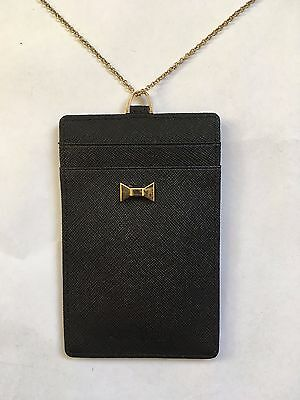 Fromb Leather ID Badge Card Holder with Kate Spade Bow and Lanyard