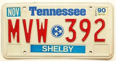 "Tennessee 1990 ""Stars"" License Plate, MVW-392, Memphis, Shelby County"