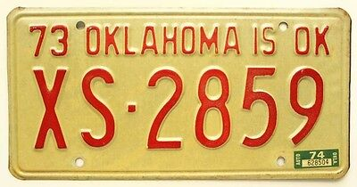 Oklahoma 1973 1974 Oklahoma County License Plate XS-2859 for Classic Muscle Car