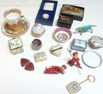 Vintage 19 pc lot Austrian Russian Limoges boxes Halcyon day hand painted enamel