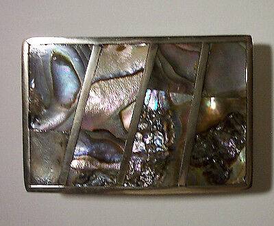VINTAGE 1960s GEOMETRIC SILVER ABALONE SHELL INLAY BELT BUCKLE MADE IN MEXICO