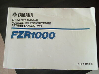 Fzr1000 Owners Manual