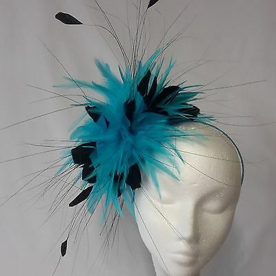 Turquoise/Black Feather Fascinator for Races , Weddings , And Proms