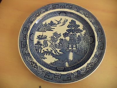 OLD VINTAGE BLUE & WHITE CHINA WILLOW PATTERN DINNER PLATE wedgwood etruria barl