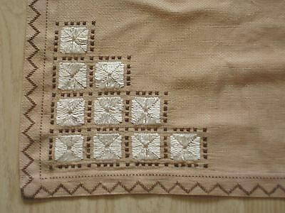 Beautiful Vintage Linen Tablecloth Hand Embroidered Table Cover