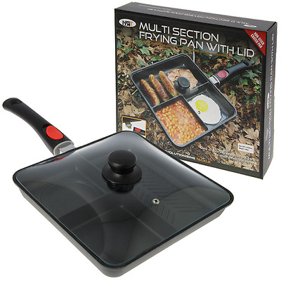NEW NGT Fishing Multi Section Frying Pan with Non Stick Coating and Improved Lid