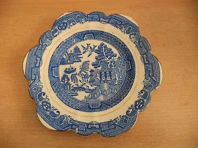 Old Vintage Blue & White Porcelain Willow Pattern Plate Melba China England