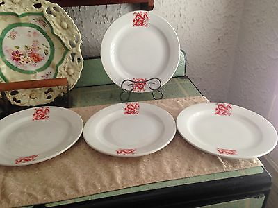 4 Vintage Chinese Red Dragon Dinner Plates Great China restaurant ware