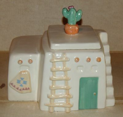 Treasure Craft Southwestern Adobe House With Cactus Top Ceramic Cookie Jar
