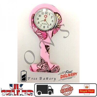 Pink Butterfly Watch Nurse Fob Silicone Brooch Tunic Battery New Doctor