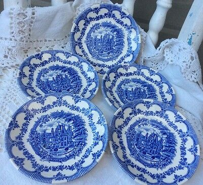 5 lovely blue & white Staffordshire Ironstone Pottery tableware saucers