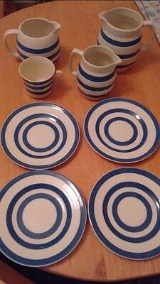 staffordshire ironstone chefware blue/white pottery cup, plates, jugs (collect)