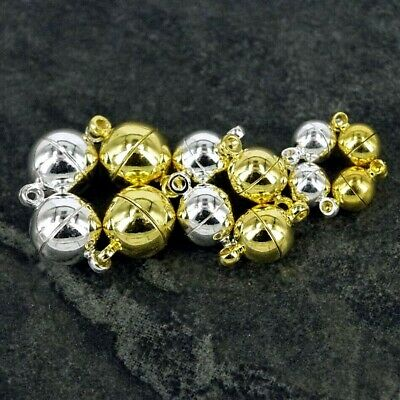 Magnetic Round Ball Clasps ,  Silver or Gold Plated Strong 6mm 8mm 10mm K60