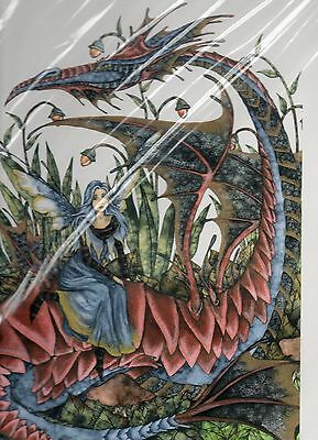 FRIENDS Amy Brown RARE LIMITED EDITION SIGNED 3/50 faery  11x14 DRAGON red blue
