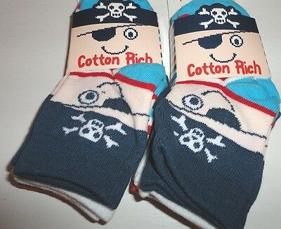 6 Pairs Boys Socks - Pirate Theme - Size 0 To 2.5 - New With Tags