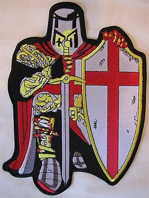 Large England English Knight Bike Motorcycle Biker Embroidered Sew Badge Patch