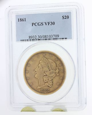 1861 Liberty Head $20 Dollar Double Eagle Gold Coin PCGS Graded VF30