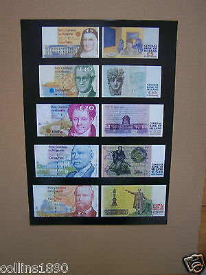 Irish set of banknotes, reproduction on A3 Ireland Eire.