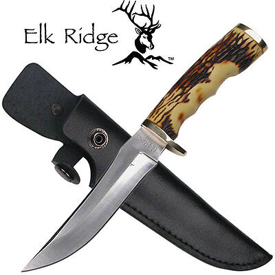 ELK RIDGE Bone Straight FULL TANG Hunting Fixed Blade Knife + Sheath! ER-027