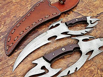 Custom Made Handmade Damascus Steel Fixed Blade Hunting Knife With Leather Cover