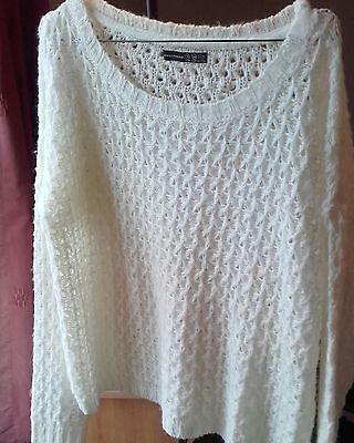 Atmosphere Jumper size 16 18 20 Cream Off White Open Knit Cosy Long Sleeved