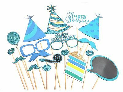 18 Pcs Party Props Happy Birthday Selfie Photography Booth DIY Kit in Blue