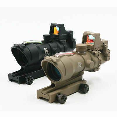 Tactical ACOG 4x32 Real Green Fiber Optic Illuminated Rifle Scope w/ RMR Red Dot