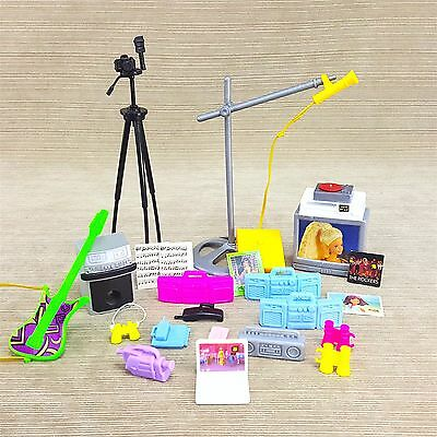 Barbie Doll LOT Boombox Radio Stereo Camera Guitar Laptop TV Microphone Stand