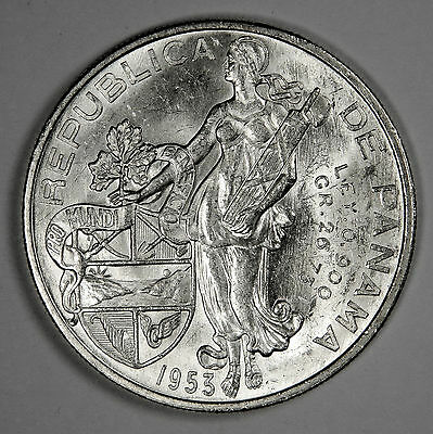 1953 Panama Un Balboa Silver Ms Bu Uncirculated - Priced Right!