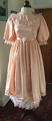 Vintage Victorian Style Peach Satin Bridesmaid/party Dress - Age 12-13 Years