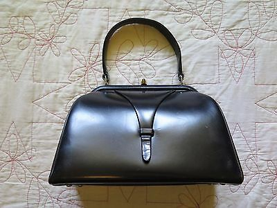Vintage Dofen Black Leather Box Handbag Purse Gold Snap Clasp Made in France