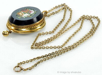 Antique Victorian Italian Micro Mosaic Gold Filled Pendant Necklace