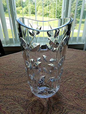 TIFFANY & CO. Floral Vine VASE Hand Cut Lead Crystal by J. RIEDEL Austria 11""