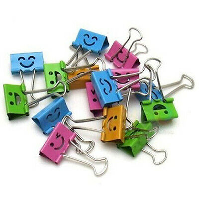 10Pcs Smile Metal Binder Clips for Notes Letter Paper Books Office School