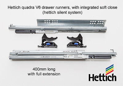 Hettich Quadro V6/400 Full Extension Drawer Runners with Soft Close