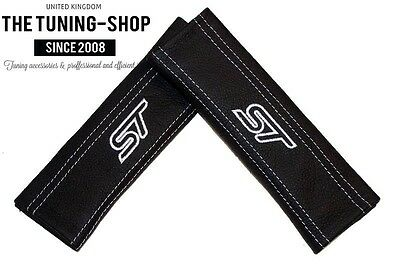 Seat Belt Harness Pads Covers Black Leather Embroidery St White Stitch Quality